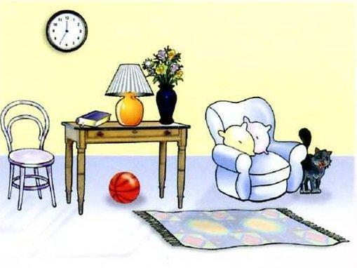 1) The clock is the wall. 2) The ball is the table. 3) The cat is the arm chair. 4) The table is the armchair. 5) The carpet is the floor. 6) The lamp is the table. 7) The flowers are the vase.