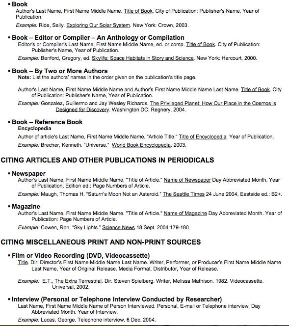 Middle School MLA Citation Guide CITING