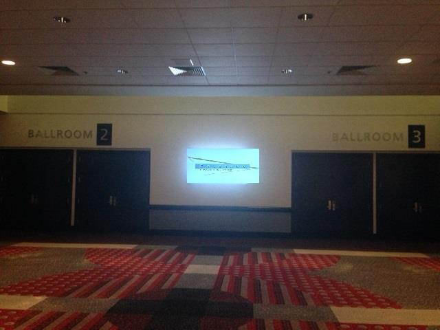 Four Seasons 75 inch screen Four Seasons ballroom has a 75 inch display between ballroom 2 and ballroom 3 that can be utilized by our clients.