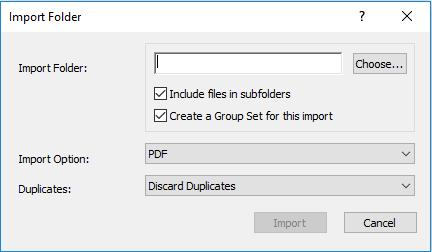 3) Import PDFs Where There is no Existing Reference 1. Go to File/Import. Select Folder for multiple PDFs. 2. Choose the file or folder to import. 3. For folder, tick the desired options.