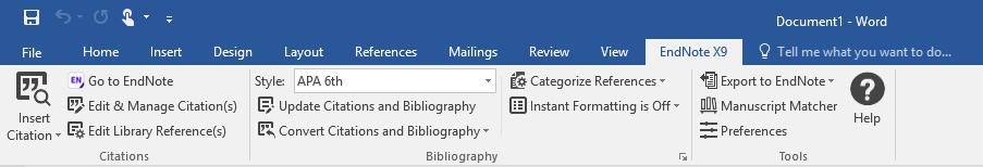 Go about half way down the page, and set the Field Shading drop-down box to Always. 4. Click OK. The EndNote Tab in Word Inserting EndNote Citations into a Word Document Configure Bibliography 1.