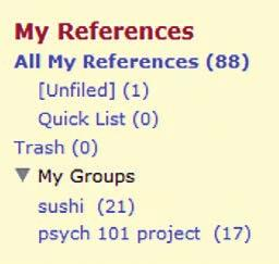 To see which group(s) a given reference is currently in, click the Folder icon.