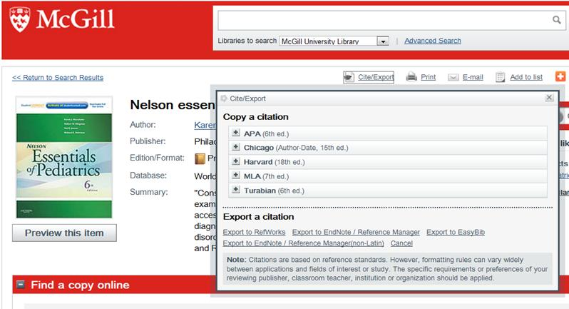 5.1.3. McGill Library Catalogue 1. Go to the McGill Library catalogue: http://mcgill.worldcat.org/ 2. Run a search and select the item you want to export to your EndNote Library. 3.