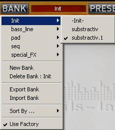 5.3 Bank menu Click on the Bank button to open the bank menu. Here you can directly select and load any preset from any bank.
