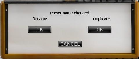 Open preset Information: opens the following preset information window: In this window you can modify the Name of the preset, its associated Bank, the preset Author, and its associated Project.