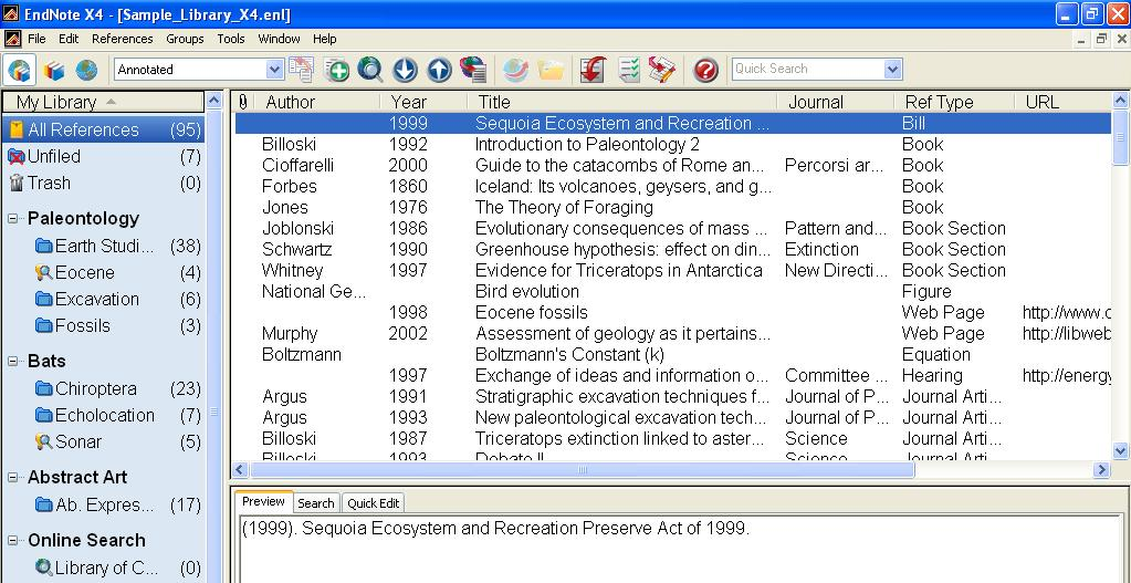 To Start Endnote: Choose START Programs Endnote EndNote Program Endnote Libraries: In Endnote, a library is a collection of records or references one chooses to store together.