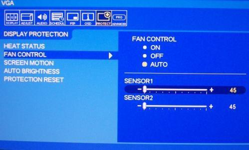 FAN CONTROL ON OFF AUTO FAN STATUS FAN always ON FAN always OFF UESR DEFINE SENSOR1 Use the slide bar to set the temperature. When sensor temperature is higher than the temperature what user set.