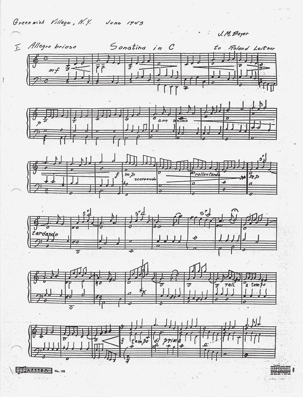 Sonatina in C (1943), excerpt, piano; manuscript held in the