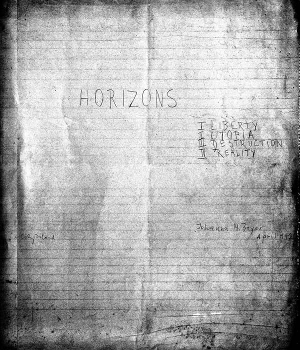 johanna beyer Horizons: Percussion Ensemble Music 44 Horizons, for percussion ensemble, manuscript title page; held in the John Cage Notations Collection, Northwestern University.