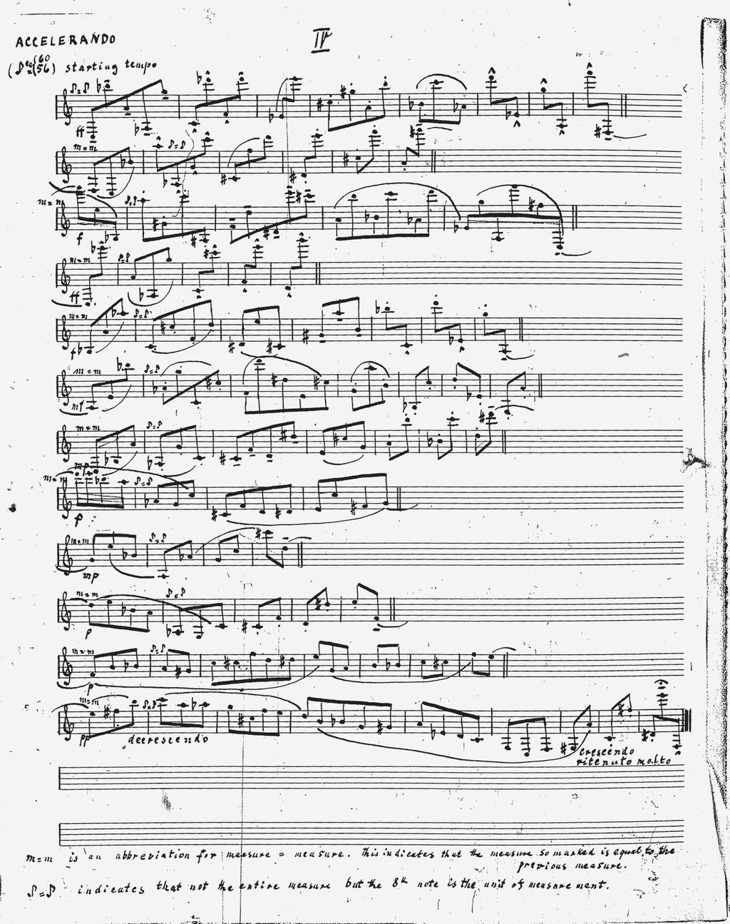 Suite for Clarinet I, fourth movement; manuscript held in the