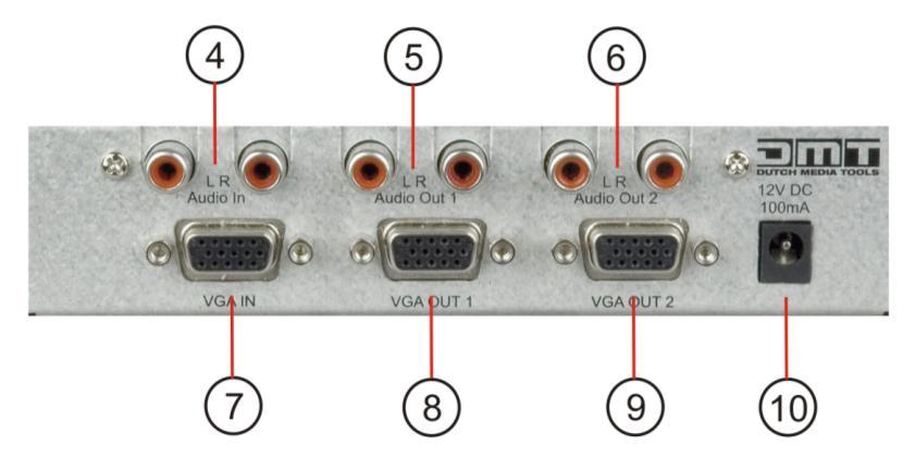 2 4) Audio In RCA Connect this input to the line level audio signal you wish to split. 5) Audio Out RCA Connect this output to an audio device with a line level input.