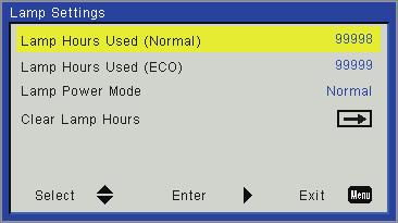 User Controls Options Lamp Settings Lamp Hours Used (Normal) Display the projection time of normal mode. Lamp Hours Used (ECO) Display the projection time of ECO mode.