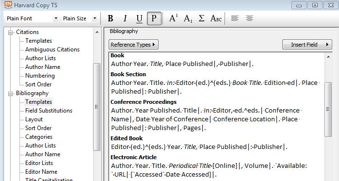 Under Bibliography you find templates and other definitions controlling the output of references in the bibliography: Downloading styles (connection files, import filters) from Endnote.
