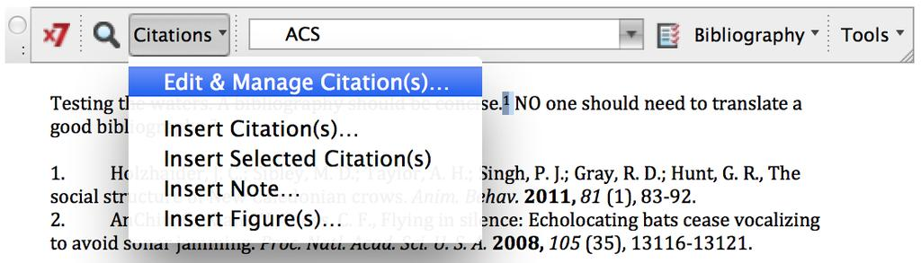 C. To Add or Remove a reference within a current citation: 1. Click on the in-text citation (within the text of the document) 2.