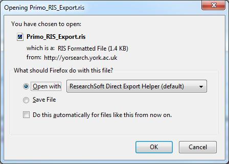 EndNote X7 2.3 - YorSearch After you have located items through YorSearch you can import references one at a time, or use the e-shelf facility to import several at once.