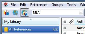 EndNote X7 1.4 - Viewing Options Groups Panel The panel headed My Library (on the left by default) is used to choose which references you will see listed.