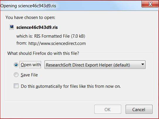 5. Exporting references from databases - example using ScienceDirect with the plug-in for direct export 1. Find ScienceDirect from SUPrimo or the list of databases and carry out a search. 2.