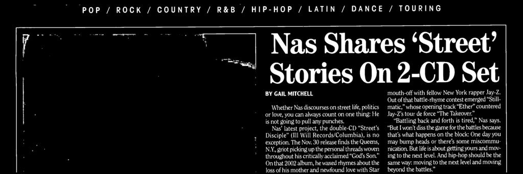 "Out f that battle -rhyme cntest emerged ""Still - matic,"" whse pening track ""Ether"" cuntered Jay -Z's tur de frce ""The Takever."" ""Battling back and frth is tired,"" Nas says."