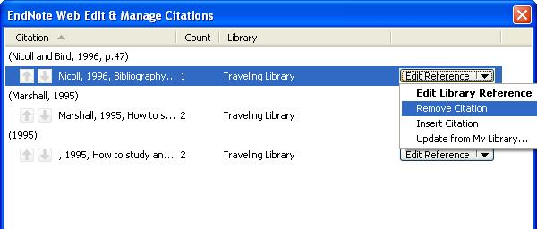 Note: this removes the citation from your text but does not delete the reference from your EndNote Basic library.