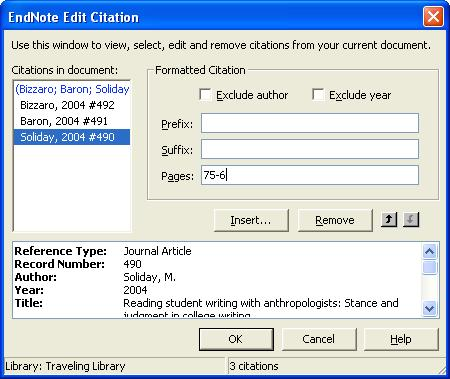 5. To add page references to the citation, click on it and click the Edit Citation(s) button ( ). 6.