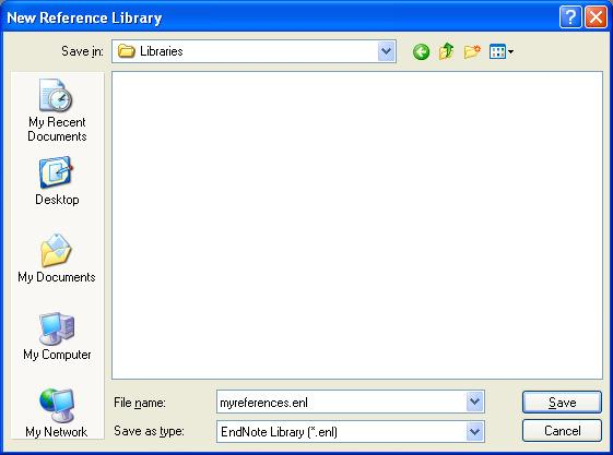 5. A new, blank library will be displayed