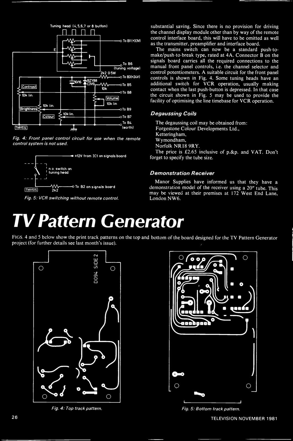 Tv Receiver Design The Pdf 7w Audio Amplifier Based Tba810 Circuit Diagram A Suitable For Front Panel Controls Is Shown In Fig 4 Some