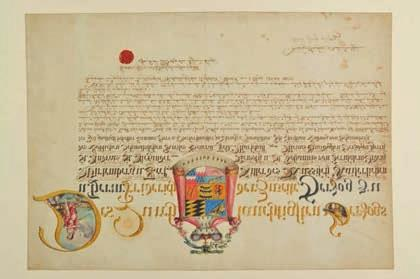 German Heraldic Document. Illuminated manuscript with royal armorial, signed Christian Ludwig von Schaumberg and Johann Georg Sattler, Wurtemberg, 1st May 1800.