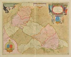 Willdey, 1715, large engraved map on two conjoined sheets, contemporary outline colouring, decorative cartouche and mileage scale and an inset cartouche advertising items sold in George Willdey s