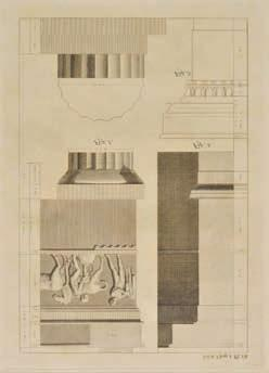 Revett (Nicholas), A collection of fortyeight engravings, circa 1790, uncoloured engravings of architectural reliefs and elevations, capitals, statues and plans, all mounted in good lined mounts,