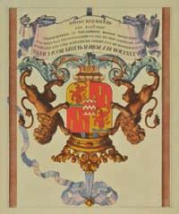 toning, thread margins, 340 x 495mm, mounted, framed and glazed (1) 120-180 Lot 324 323* Heraldry.