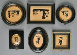and smaller, all in ebonised frames, some oval or circular, glazed, one with biro inscription on the verso cut out from 1830 album (6)
