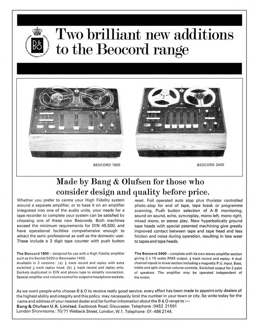 I Ib January 1970 Recording Magazine The Man Who Invented Magnetic Possibly Related To Quotprevent Treble Dull In Volume Controlquot Circuits Two Brilliant New Additions Beocord Range M 1800 2400 Made