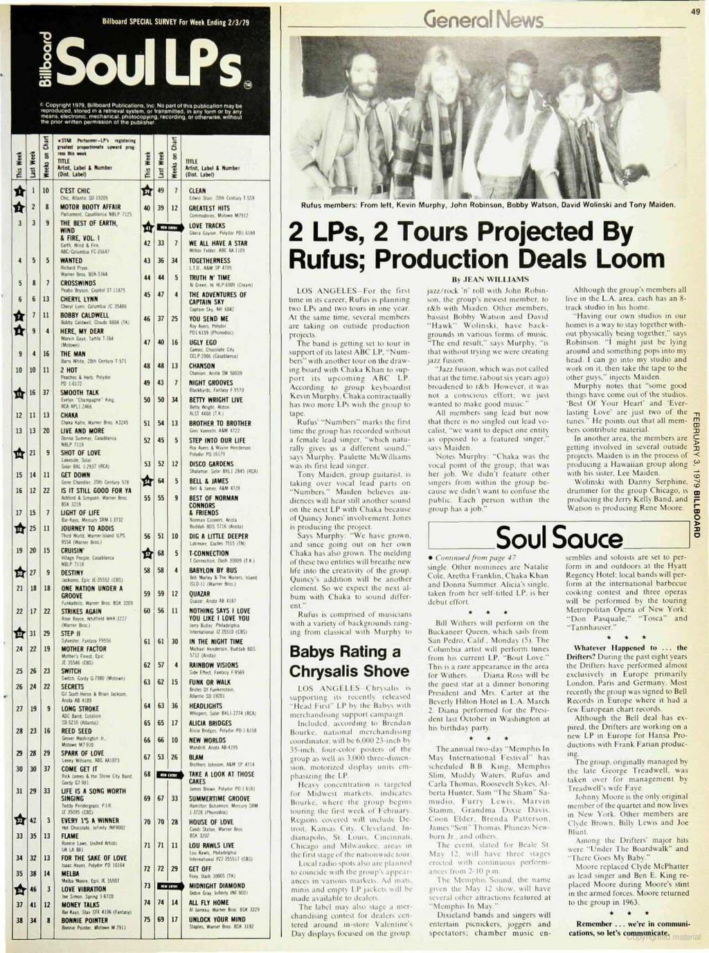 Billboard SPECAL SURVEY For Week Ending 2/3/79 General News 49 Soul LPs. c Copyn9ht 1979, enlboard Publ,cabom, nc No W of h,e Oubocatlon may b. reproduced. Stored na retrieval system. or Pensmllie0.