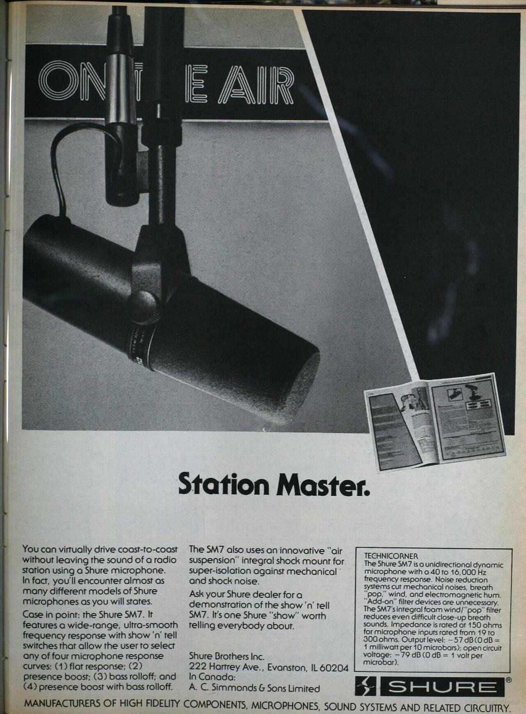 MANUFACTURERS OF HIGH FIDELITY COMPONENTS, MICROPHONES, SOUND SYSTEMS AND RELATED CIRCUITRY. www.americanradiohistory.com Station Master.