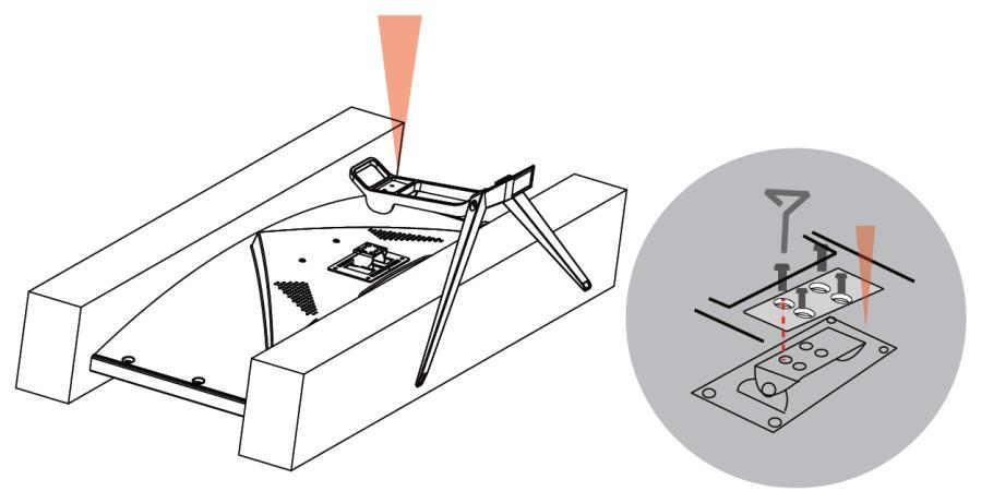 Using two of the included Stand Screws, attach the two Stand Legs to the Stand Base, as shown in the images below. 3.