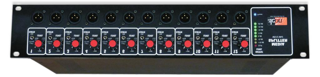12 Channel Media Splitter MS12 Mk2 An audio distribution amplifier primarily designed to feed multiple ENG cameras from a single lectern microphone at media events. Available in 12 channels only.