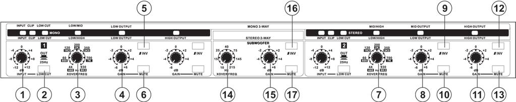 3-WAY MONO OPERATION Set the XO-231 to 3-way mono by releasing the Mode buttons on the rear of the device.