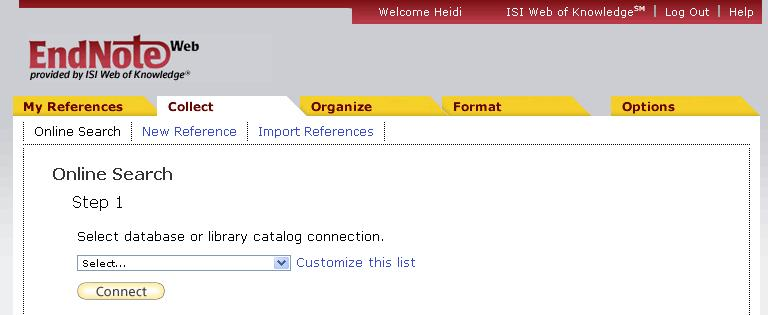 17 Collect References in EndNote Web Direct Export A few databases allow you to export directly to Endnote Web. These include Web of Science, EBSCO, etc.