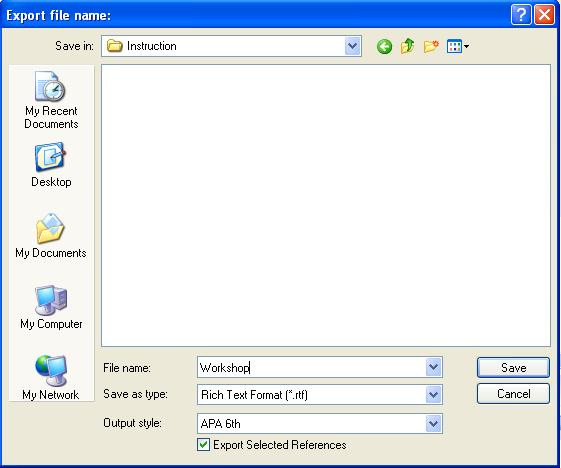 Select file name and output style 4.