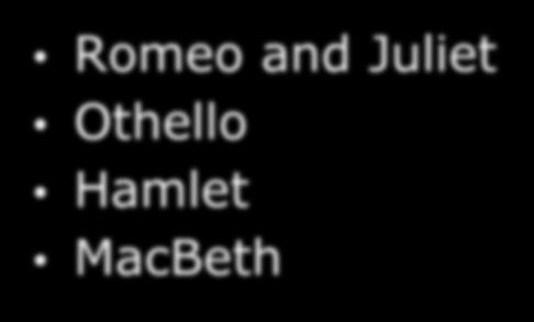 Shakespeare's Works Romeo and Juliet Othello Hamlet