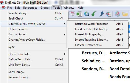 Switch to your Word document put the cursor on the place you wish to insert the citation,
