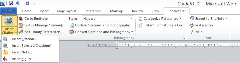Cite While You Write (CWYW) in EndNote. After restarting MS Word you should see an EndNote X7 ribbon in your menu. 4.