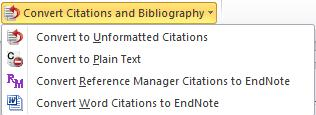 Here you can choose a bibliographic output style. If the style you want to apply is not displayed in the drop down menu, choose Select Another Style to import it from EndNote.
