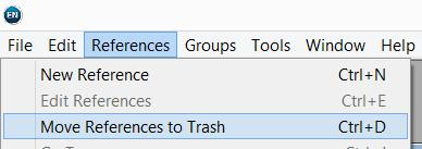 The duplicate references will move to the Trash, leaving one copy of each in the Duplicate references folder and the All