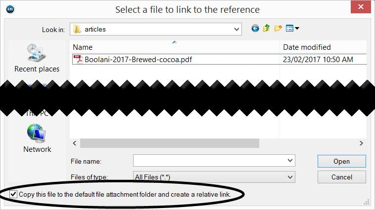 Alternatively, to attach a PDF (or other file), select the relevant record then click References File