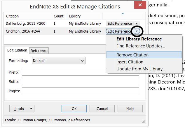 Deleting an in-text citation Sometimes you want to remove an existing citation e.g. the wrong citation was accidentally inserted, or it was incorrectly placed.