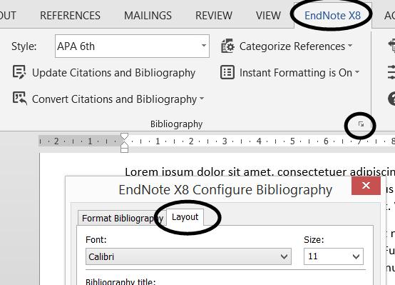 Changing other bibliography options You can change other reference list/bibliography options, such as including a heading, indenting, and line spacing between references.